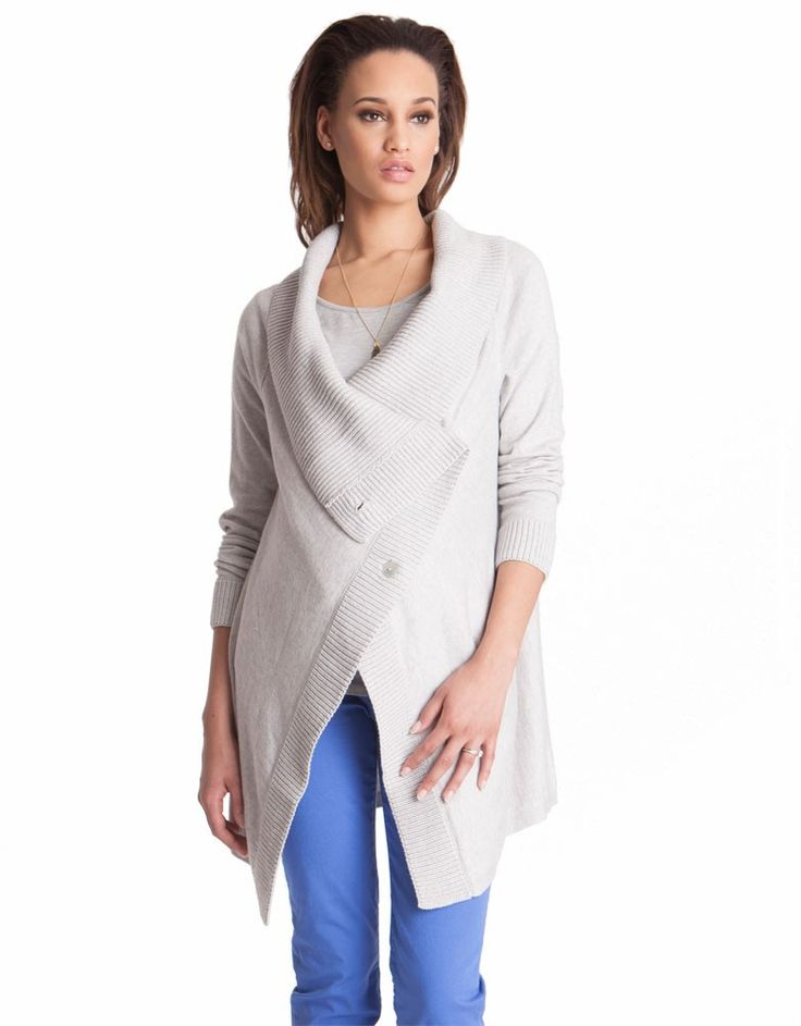 Transition the seasons in style with this soft gray maternity cardigan; made in a chunky cotton and cashmere blend.