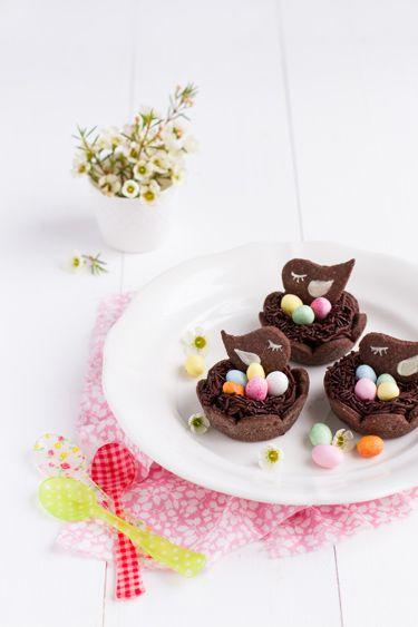 Tartelettes au chocolat nid de Pâques