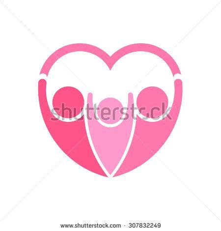 Pinky family logo Heart shape