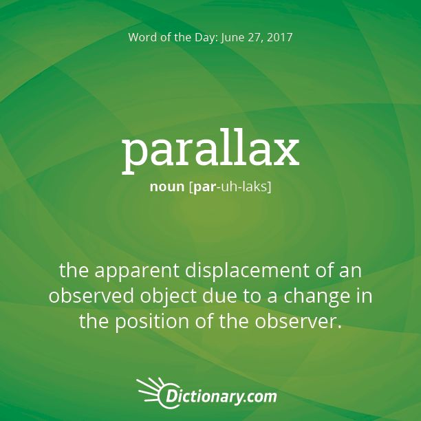 Dictionary.com's Word of the Day - parallax - the apparent displacement of an observed object due to a change i...