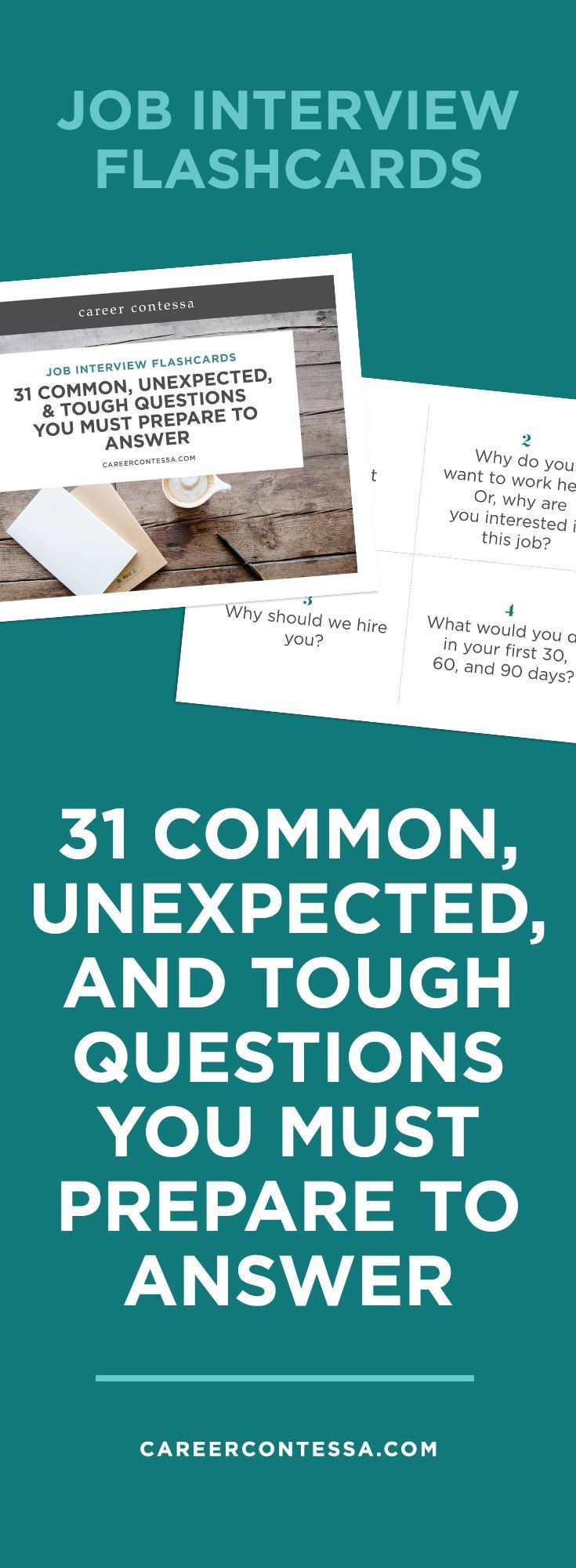 You never know exactly what to expect in a job interview. That's why we've created 31 flashcards with possible interview questions—from the common to the weird. Use this deck to walk in interview-ready and own it. | http://CareerContessa.com