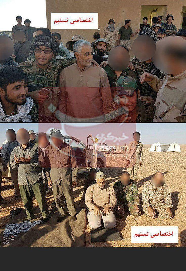 """Quds force commander Gen. Kasem Suleimani on Iraq Syria borders with """"Fatemiyoom"""" brigade."""