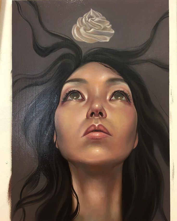 'Death by Meringue'  taking a lil break from my magic couch and having fun with portrait studies, layer #2  Friday #wip #tgif #deathbymeringue