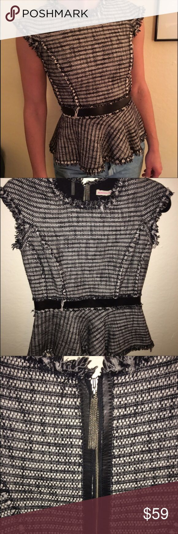 ✨SALE✨Rebecca Taylor Structured Peplum Top 2✨ Well made Rebecca Taylor peplum top. Leather Trim, herringbone material throughout. Very cute top and very professional  Buy 2+ items and get a 15% bundle discount Rebecca Taylor Tops Blouses