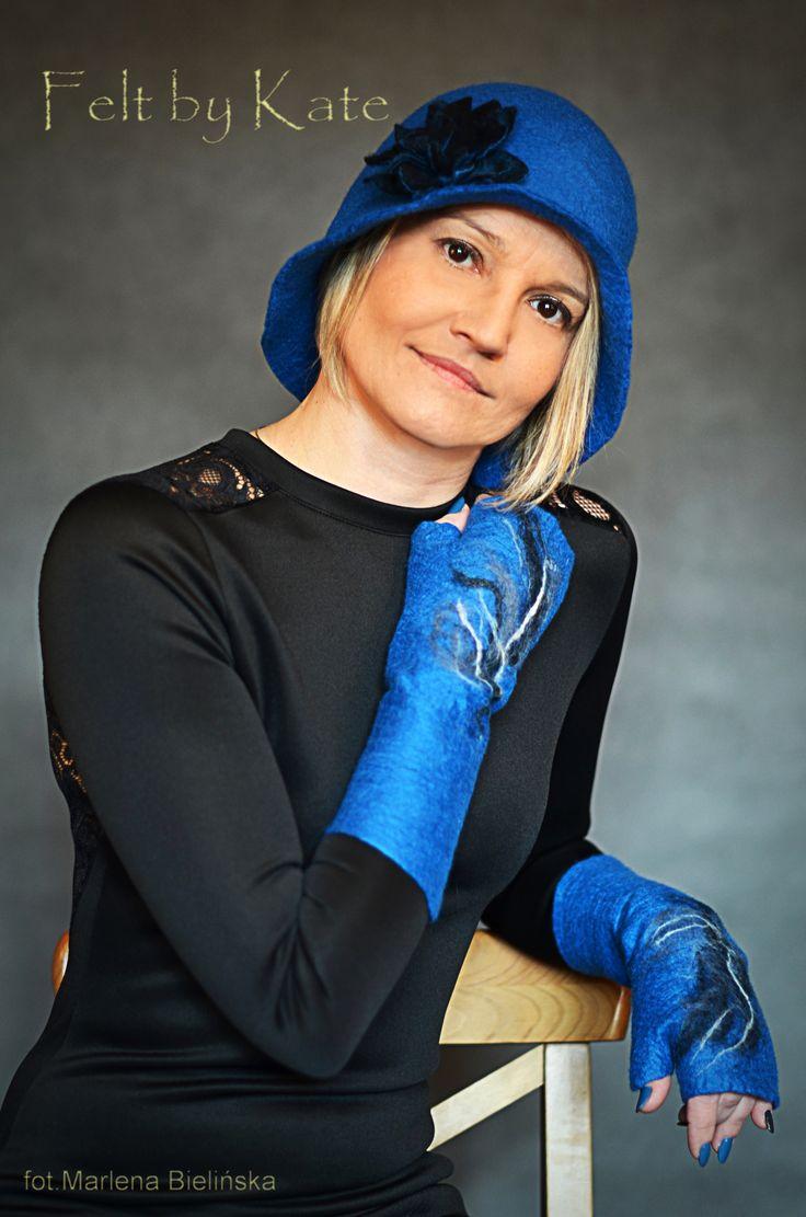 """Fabulous hat and mittens. Hand felted merino wool by Katarzyna Milczarek """"Felt by Kate """" https://www.facebook.com/FeltbyKate/"""