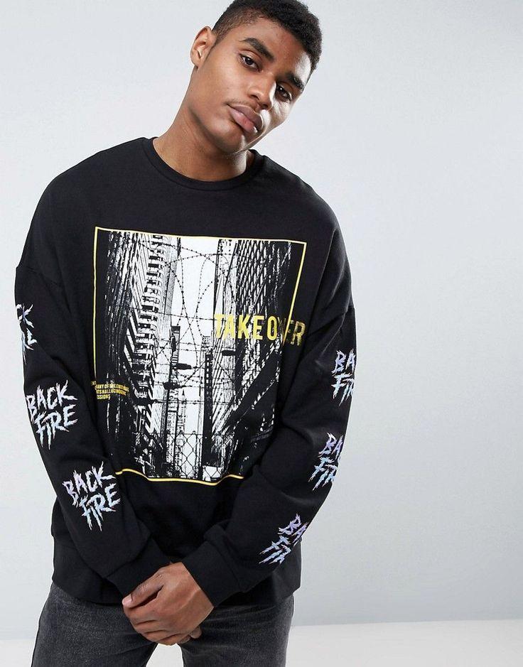 ASOS Oversized Sweatshirt with Sleeve Print - Black