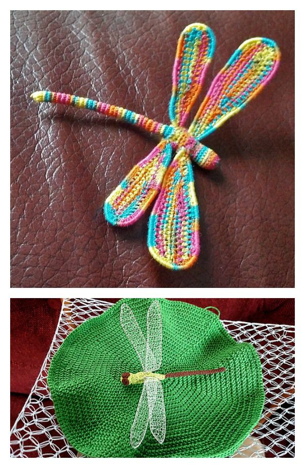 3-D Crochet Dragonfly with Wire Free Pattern