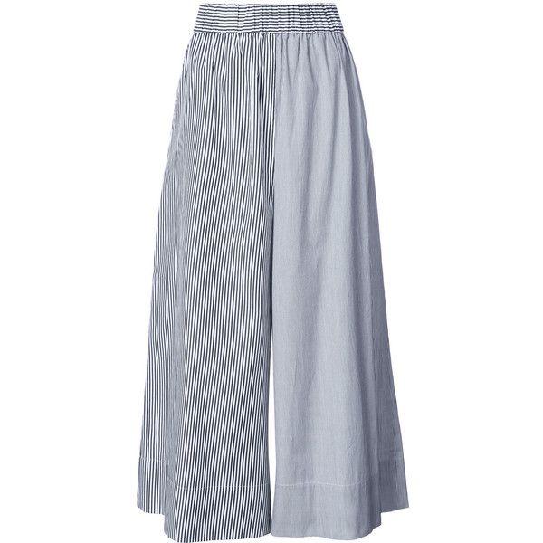 Tibi striped palazzo trousers ($345) ❤ liked on Polyvore featuring pants, grey, stripe pants, grey pants, cotton pants, tibi and striped pants
