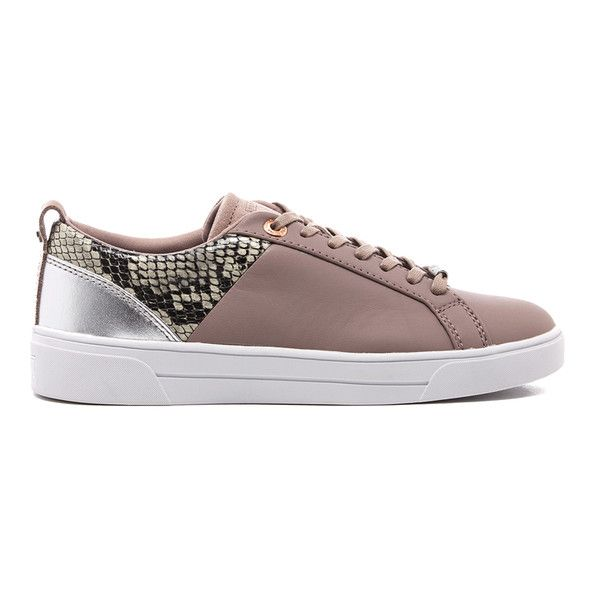 Ted Baker Women's Kulei Leather Cupsole Trainers (1 065 SEK) ❤ liked on Polyvore featuring shoes, sneakers, nude, low profile sneakers, low top, leather low top sneakers, ted baker sneakers and leather trainers
