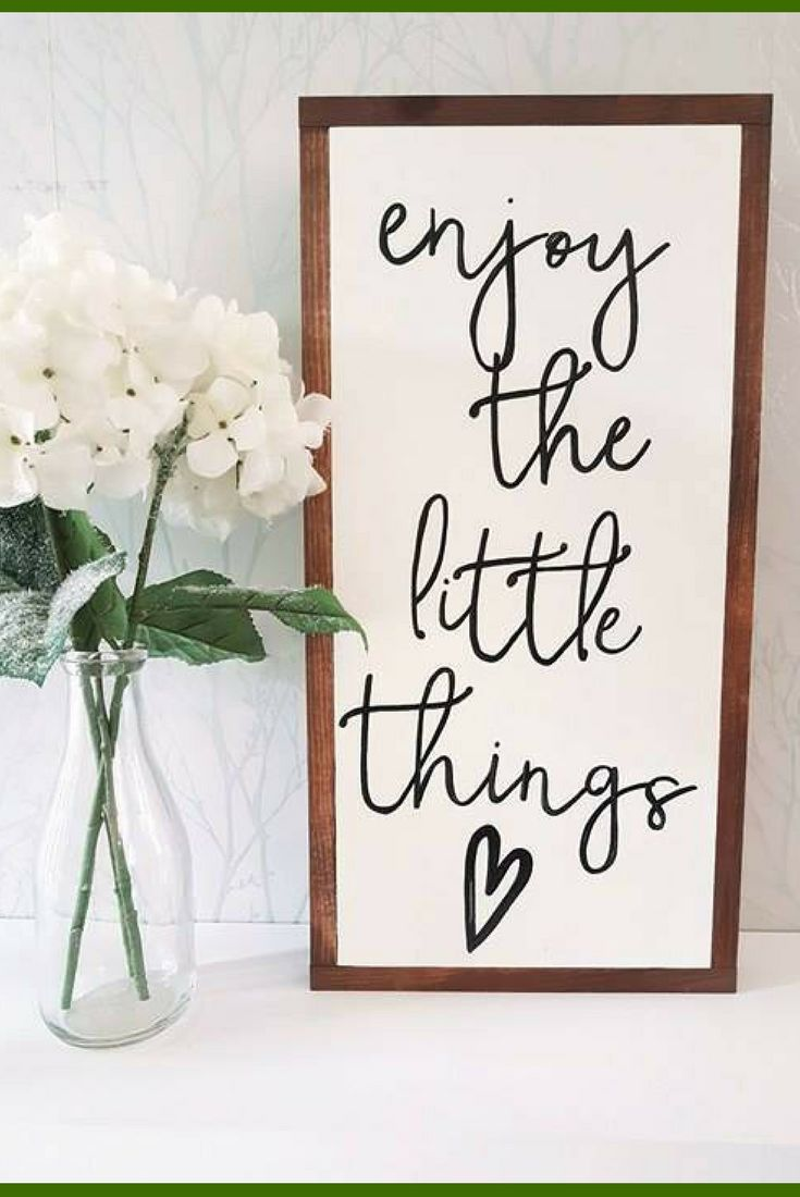 So easy to forget sometimes.. need to always remember to enjoy the little things! home decor, rustic sign, farmhouse sign, rustic wall decor, farmhouse decor, living room wall art, inspirational decor #ad #DIYHomeDecorQuotes