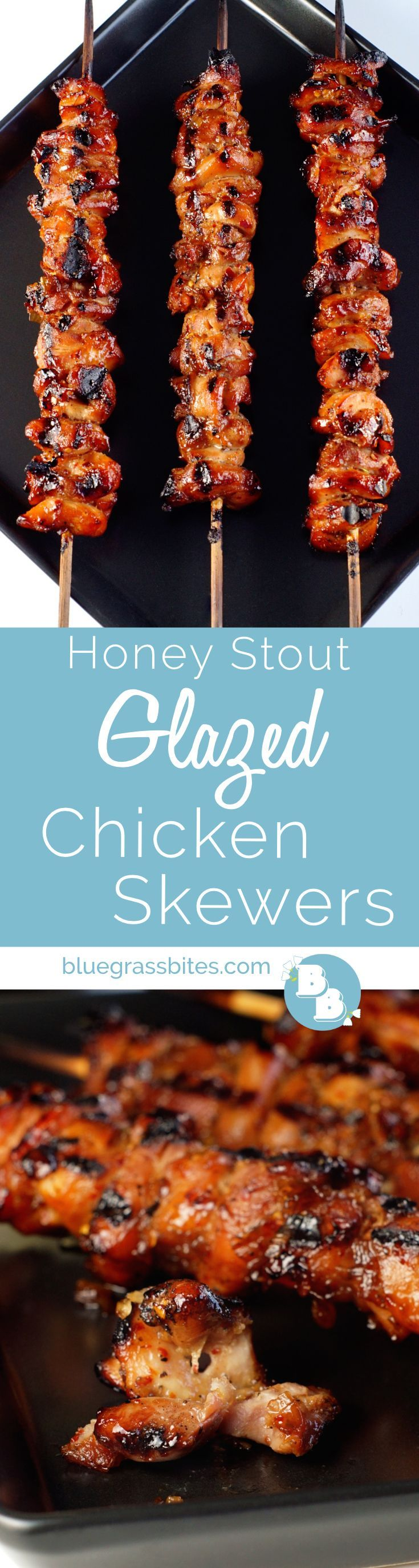 Grilled #chicken skewers made with chicken thighs covered in a sticky, sweet, and tangy #beer-spiked glaze.