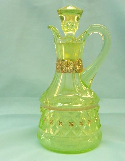 Vaseline glass cruet. #glass #vintage #antique #green