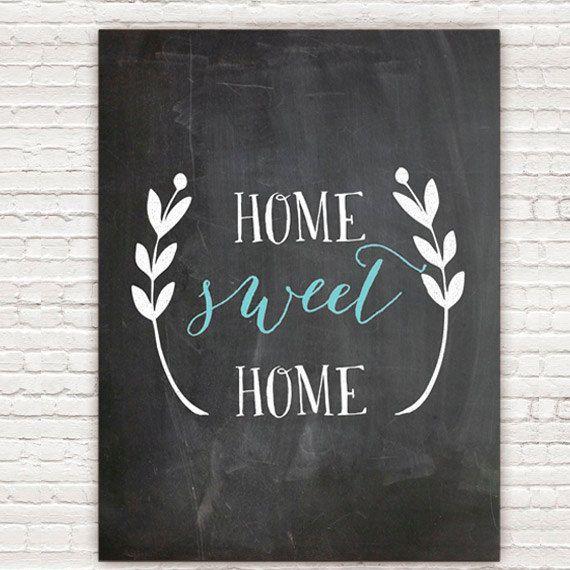 Home Decor Chalkboard: Home Sweet Home Chalkboard Print, Home Decor, Chalkboard