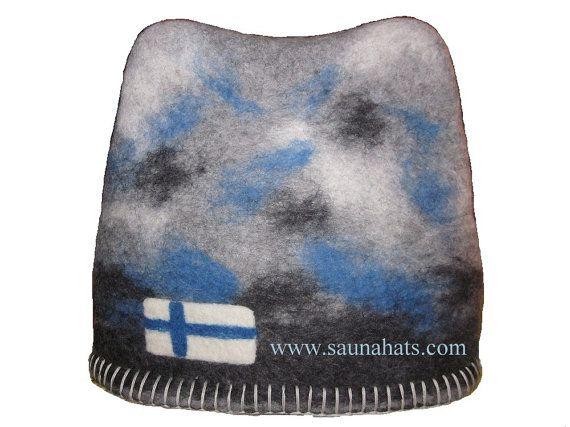 Camel-style felt Sauna Hat Finnish flag Handmade by Saunahats