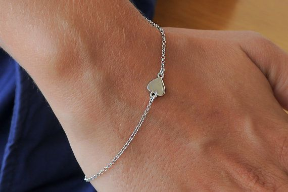 Tiny silver heart Love bracelet 925 sterling silver by Wavejewels