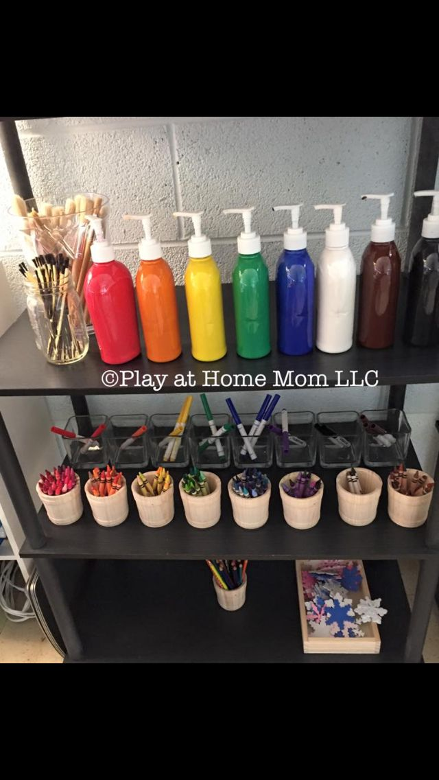 I purchased soap at the dollar tree, emptied and cleaned the bottles, and filled them with paint. They are easier to use and seem to prevent paint waste. I also have condiment cups (not seen here) for the children to use to hold the paint. Today we all sat together to learn how to use our new paint pumps, how to create new colors, and how to clean up when we are done.