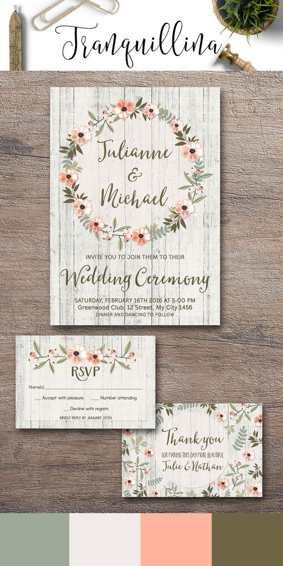 Rustic Wedding Invitation Printable, Mint & Pink Wedding Invitation Suite, Wedding Stationery, Watercolor Floral Wreath Wedding Invite, DIY wedding Ideas. For more boho inspired wedding printables, check the following link: tranquillina.etsy.com