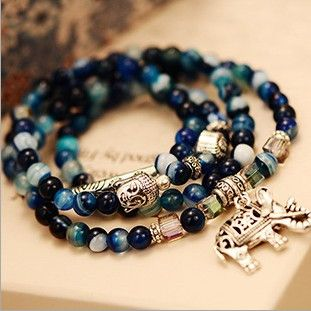 S323 natural agate crystal bracelet female vintage fashion multi-layer blue tourmaline buddha head bracelet