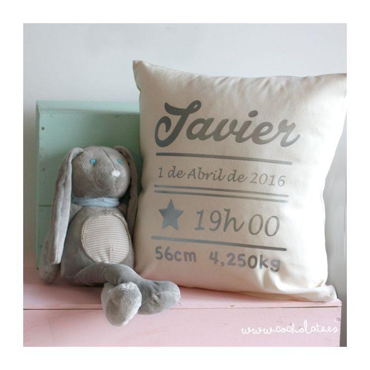Cojin personalizado datos de nacimiento del recien nacido, ideal como regalo de bautizo, entrega 24 horas, cuadro nacimiento, decoración cuarto bebe