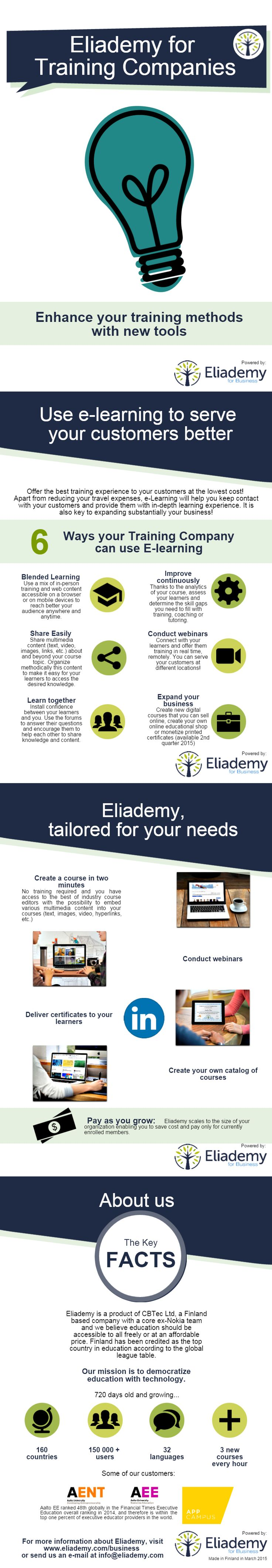 Eliademy for Training Companies #training #elearning #consultants #coaches #certificates #brochure