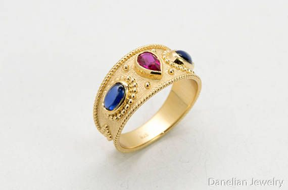 Gold Ruby & Sapphire Ring. All sizes available and you can choose another stone combination if desired. Danelian Jewelry, creates solid gold and sterling silver Byzantine rings with attention to detail and quality of each delivered jewelry piece.