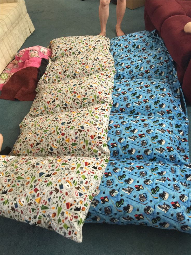 Pillow beds made for grandsons Nathan and Tanner   Outdoors one is Nathan's and hockey one is Tanner's (made in 2015)
