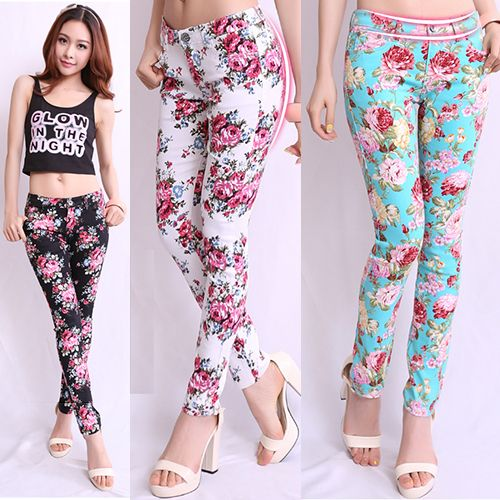 Free Shipping 2013 Autumn and Winter Fancy Elastic Pencil Pants Flower Printing Fashion Women Plus Size Long Trousers Leggings