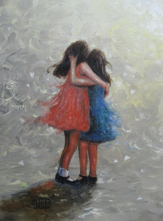 Two Sisters Hugging Art Print two girls, girls room art paintings, wall art, loving sisters, two girls, best friends, Vickie Wade Art