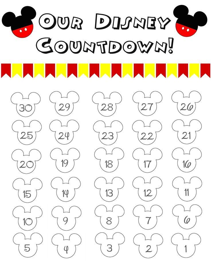 Disney World Countdown Calendar FREE Printable The