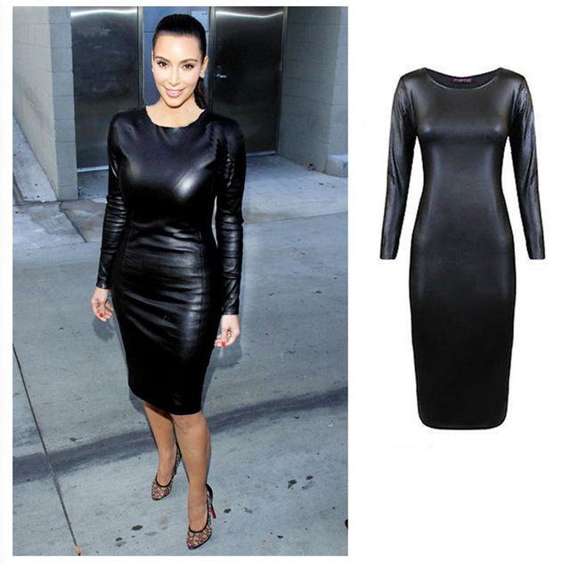 Ким Кардашян Платье из черной кожи.
