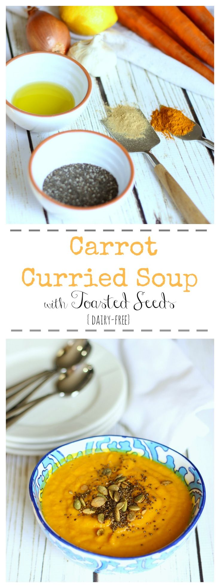 This dairy-free carrot soup with curried spices is a delicious seasonal dish for you to enjoy. Sprinkle with toasted quinoa and pumpkin seeds for a pop of flavor | gardeninthekitchen.com