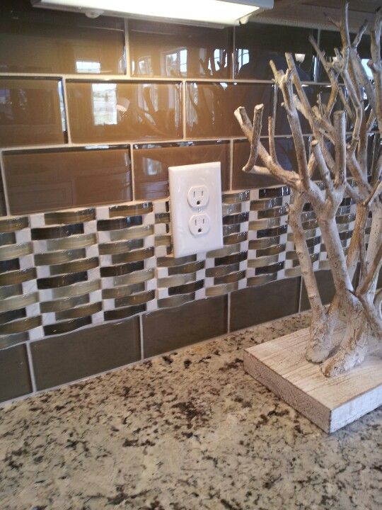 Glass Subway Tile With Basketweave Accent Tile For