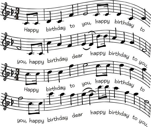 Birthday sheet music stamp...DSR designs