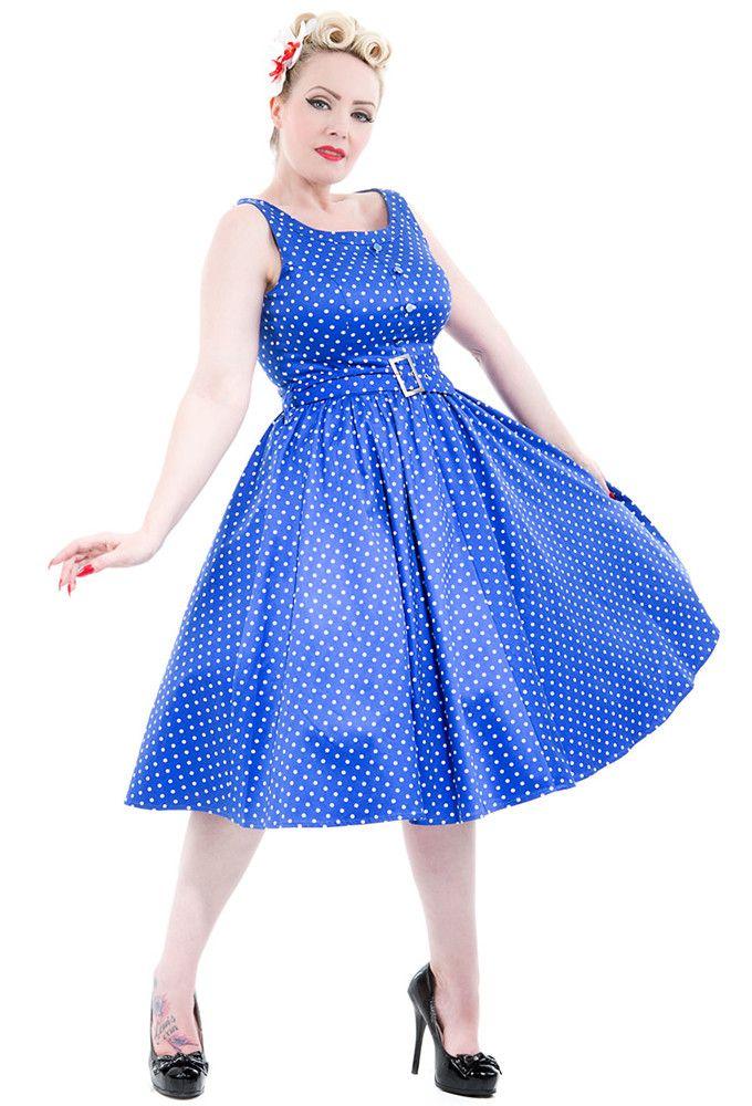 Hearts and Roses London - Hearts & Roses Blue & White Sleeveless Polka Dot Dress
