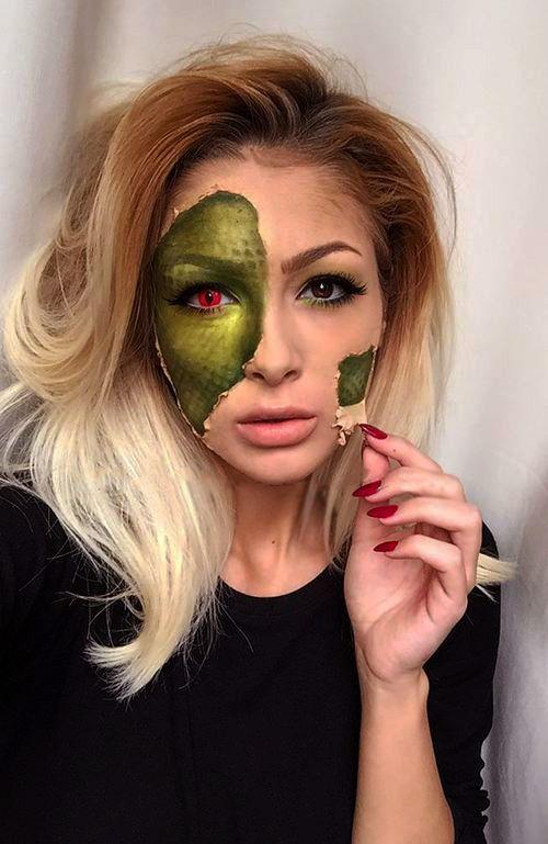 Chica con maquillaje para halloween como el de una vibora