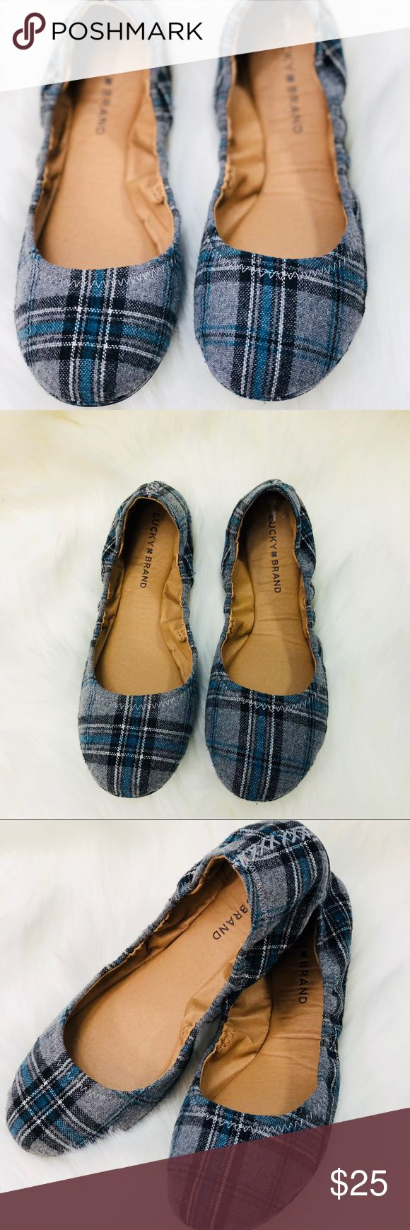 Lucky Brand Flats size 8 1/2 blue and gray Lucky Brand Emmi flats. Size 8 1/2 flannel gray and black. Brand New. Theses shoes are so Versatile  B05 Lucky Brand Shoes Flats & Loafers