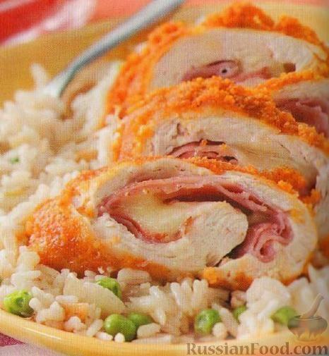 """Фото к рецепту: Курица """"от лучшего повара"""" (Кордон Блю)"""