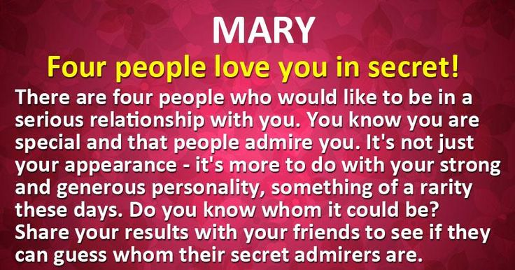 How many people love you in secret?