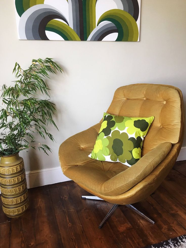 Bold retro 60s floral Scandinavian cushion cover (in the style of Marimmeko's Unikko fabric) in vivid green tones, made by me.  Photographed with Vono mid century mustard velvet egg chair.  Wall art fabric is Heal's Cascade by Evelyn Redgrave https://www.etsy.com/uk/listing/547616944/vintage-green-scandinavian-floral