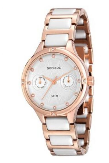 20375LPSVRQ2 Relógio Feminino Cerâmica e Rosê Seculus