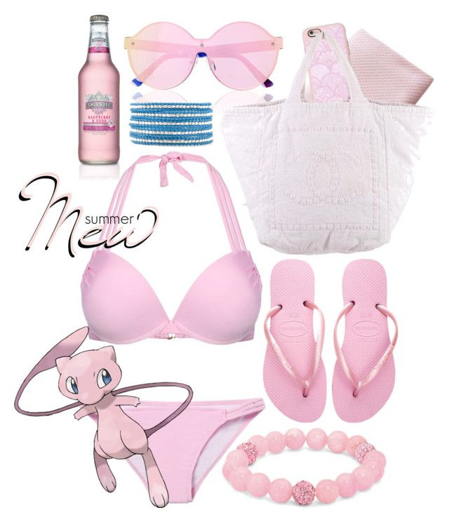 """Pokemon Beach: Mew"" by freezespell ❤ liked on Polyvore featuring House of Holland, Casetify, Havaianas, Chanel, Chan Luu, Palm Beach Jewelry and Mew."