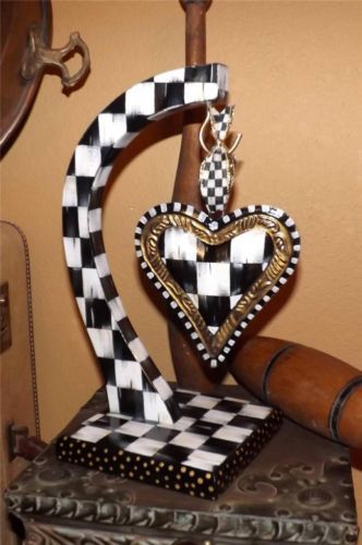 Whimsical Hand Painted Heart Holder Black White Check Valentines Day Mackenzie Childs style