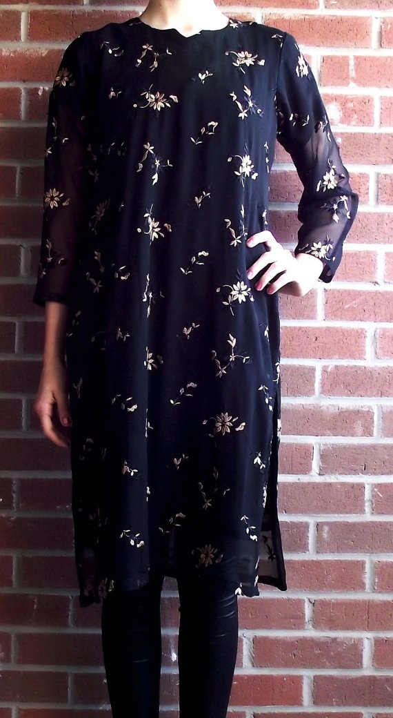1960's Tunic  Black and Gold by MaryLuVintage on Etsy, $12.50