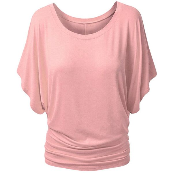 Womens Stylish Plain Boat Neck Batwing Sleeve T-shirt Pink (€8,14) ❤ liked on Polyvore featuring tops, t-shirts, pink, batwing sleeve tops, red boat neck top, pink tee, red t shirt and boatneck top