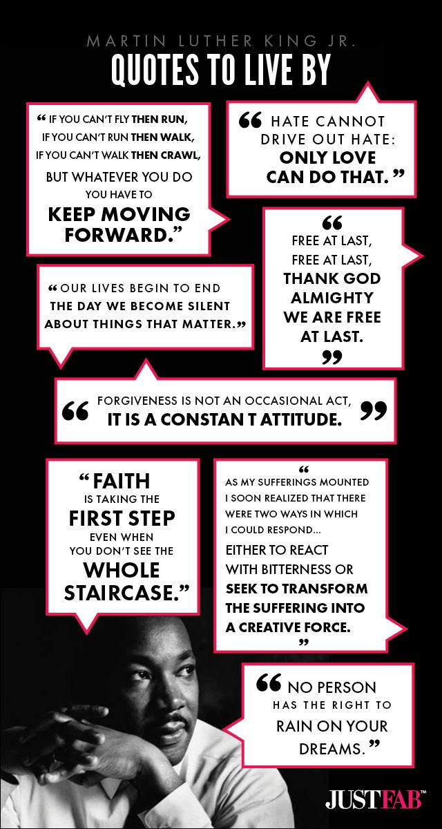 Infographic: Martin Luther King Jr. Quotes to Live By #JustFab