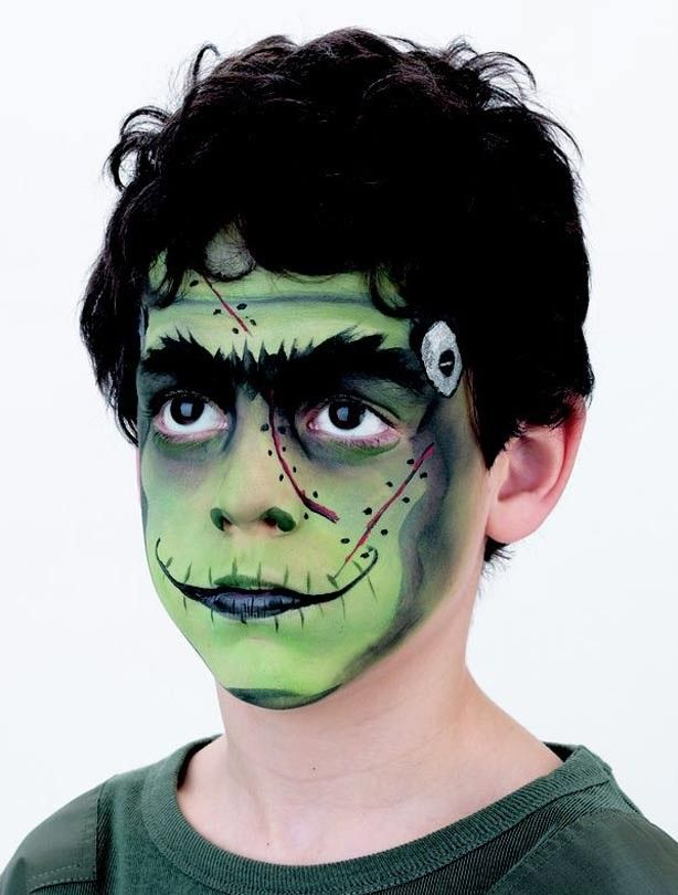 Frankenstein face paint steps for kids