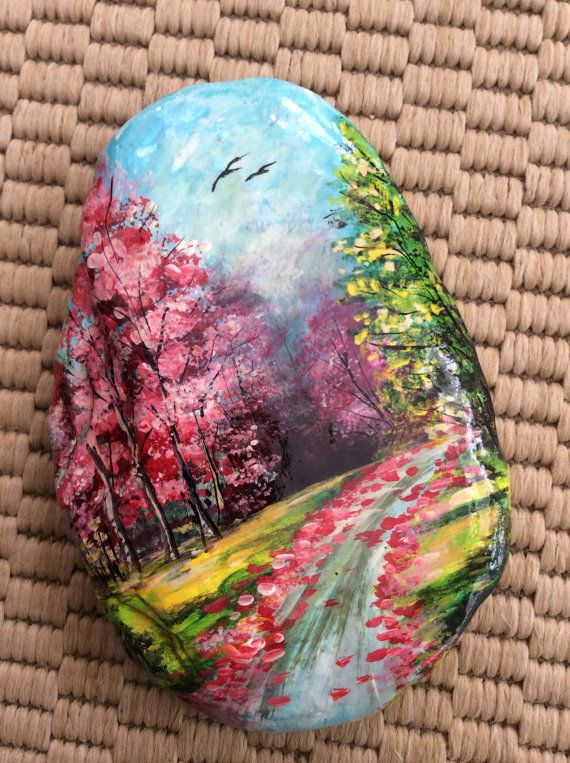 Handmade painted stone : Autumn Landscape. Handmade painted rock. Pebble art work.