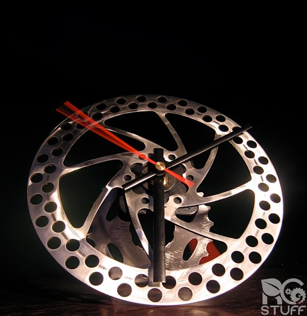 Just kidding, it doesn't matter that a clock is made out of bicycle brake disc, it still won't stop time!