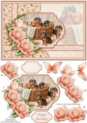 Puppies card topper, with 3d step by step rose decoupage. Features a lovely vintage painting of Dachshund puppy dogs, embellished with roses. Optional butterfly embellishment. 2 sentiment tags, one blank and Happy Birthday NOTE A coordinating insert is available. Suitable for birthday and other occasions, especially for the dog lover.