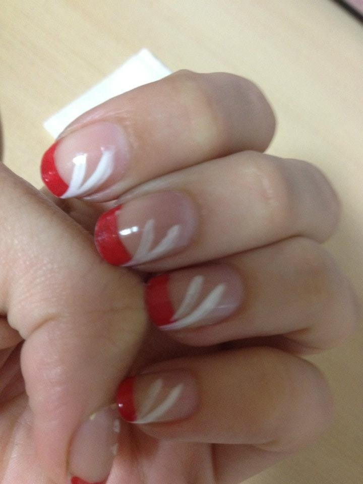 Simple red French with white line